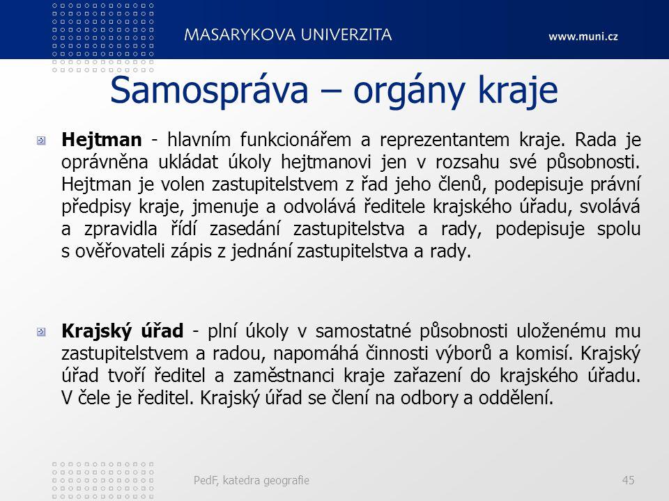 Samospráva – orgány kraje Hejtman - hlavním funkcionářem a reprezentantem kraje.