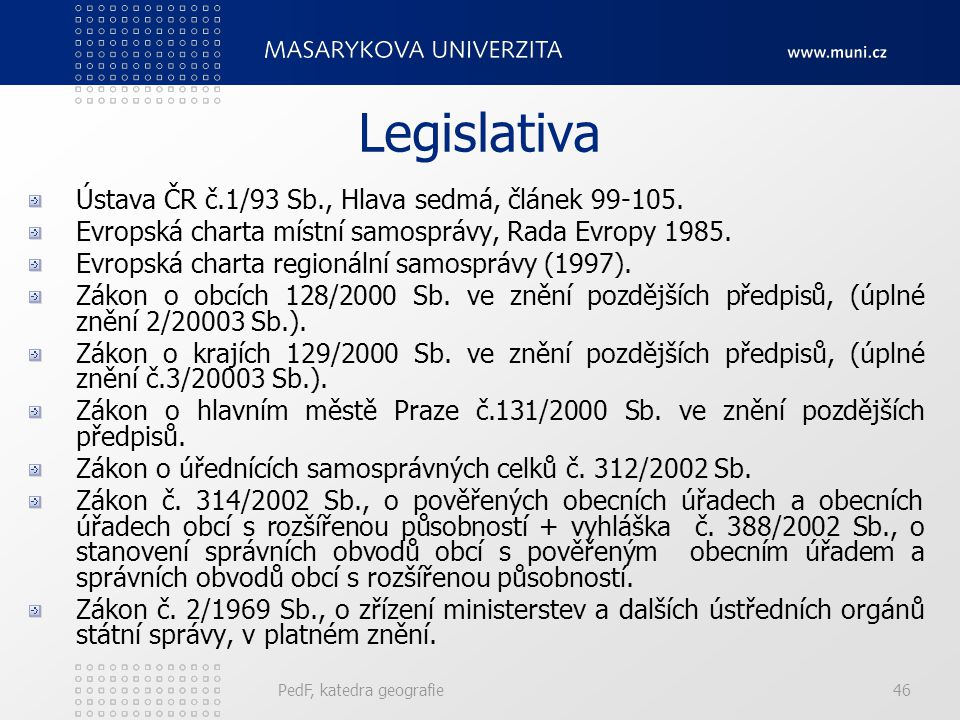 Legislativa Ústava ČR č.1/93 Sb., Hlava sedmá, článek 99-105. Evropská charta místní samosprávy, Rada Evropy 1985. Evropská charta regionální samosprá