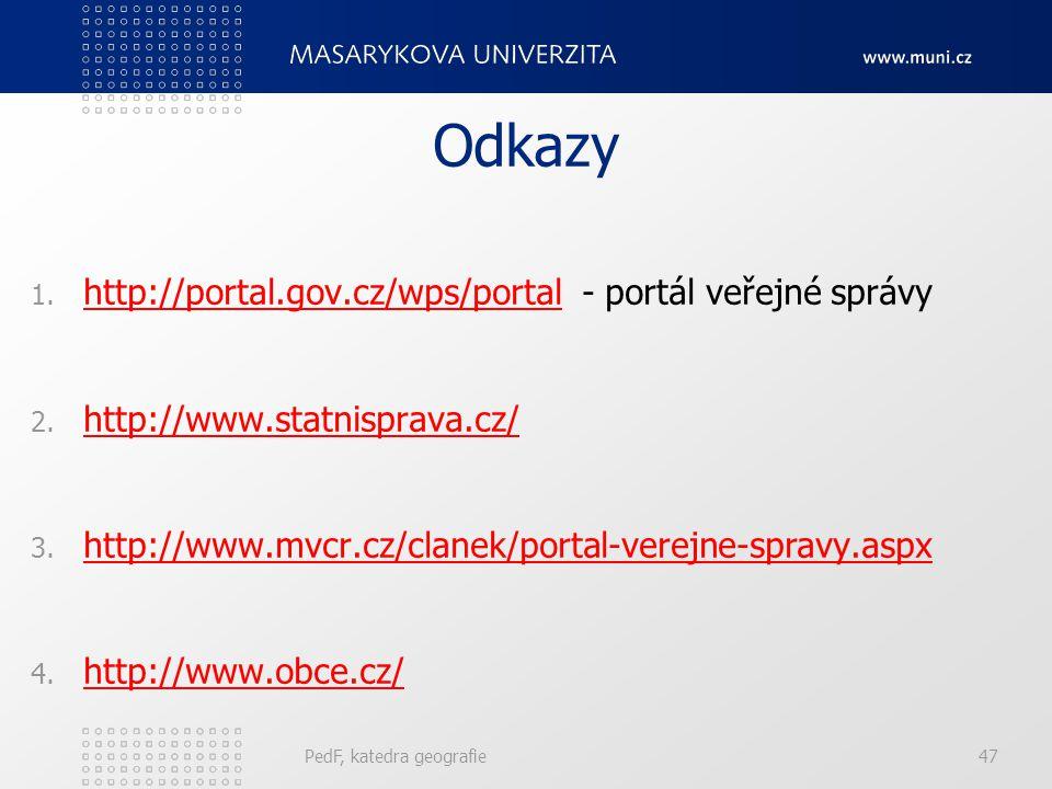 Odkazy 1. http://portal.gov.cz/wps/portal - portál veřejné správy http://portal.gov.cz/wps/portal 2. http://www.statnisprava.cz/ http://www.statnispra