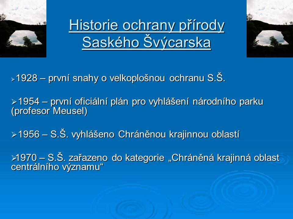 Historie ochrany přírody Saského Švýcarska  1928 – první snahy o velkoplošnou ochranu S.Š.  1954 – první oficiální plán pro vyhlášení národního park