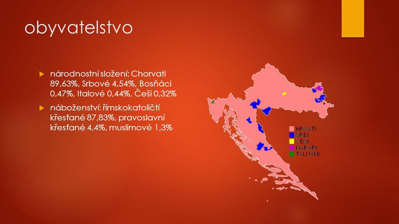 obyvatelstvo  národnostní složení: Chorvati 89,63%, Srbové 4,54%, Bosňáci 0,47%, Italové 0,44%, Češi 0,32%  náboženství: římskokatoličtí křesťané 87