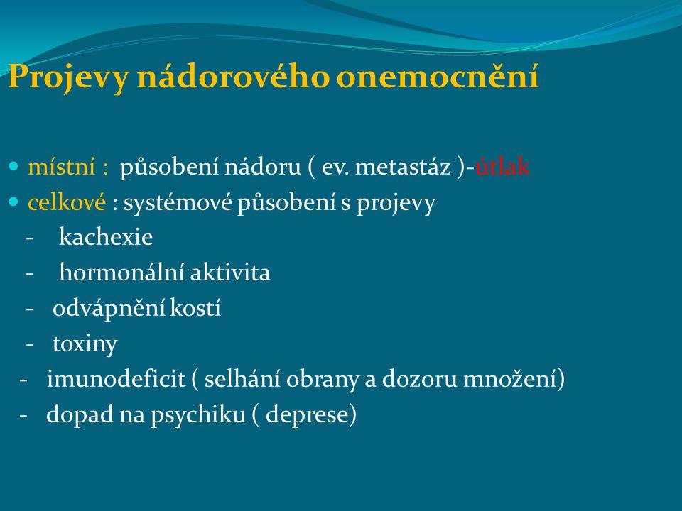 Projevy nádorového onemocnění místní : působení nádoru ( ev.