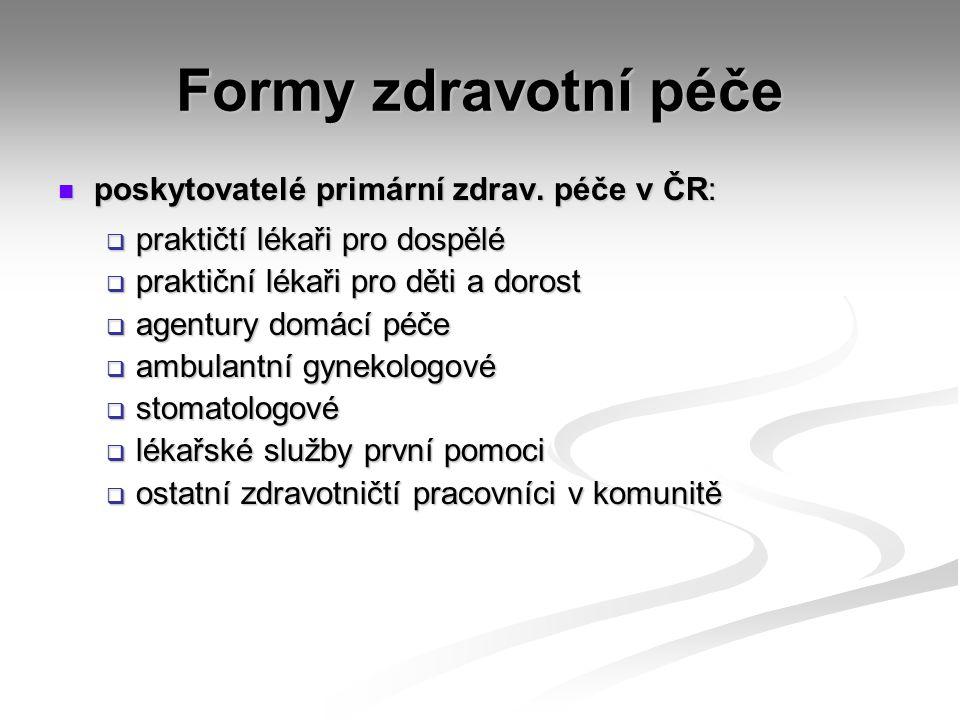 Formy zdravotní péče poskytovatelé primární zdrav. péče v ČR: poskytovatelé primární zdrav. péče v ČR:  praktičtí lékaři pro dospělé  praktiční léka