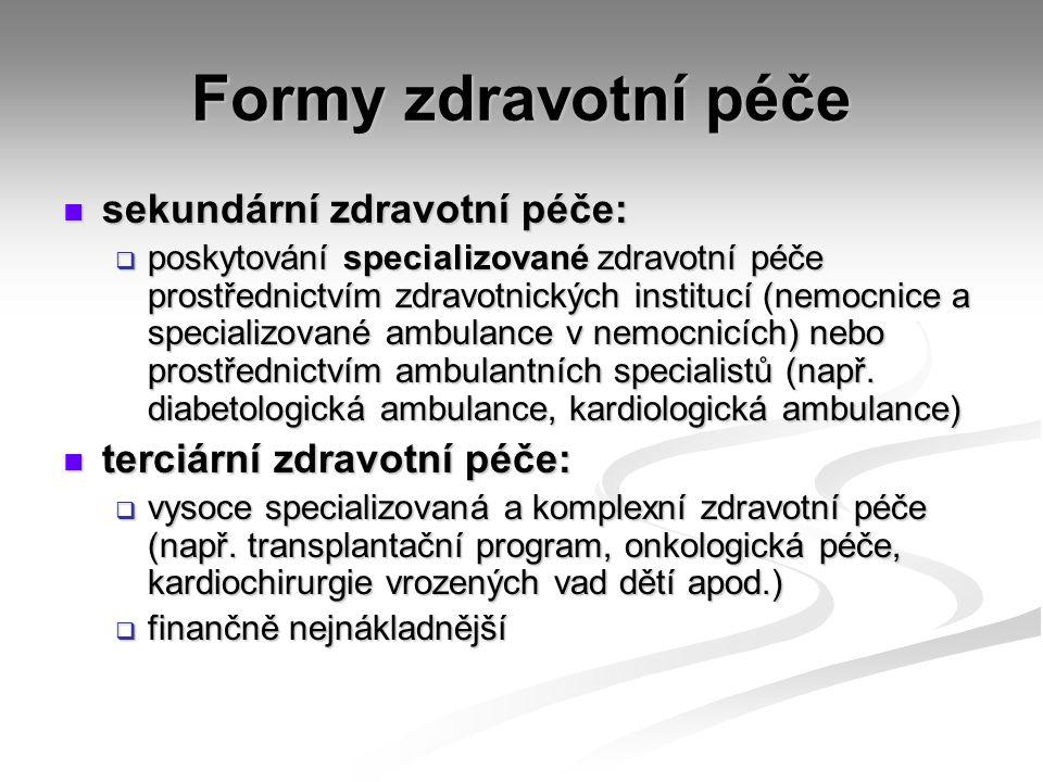 Formy zdravotní péče sekundární zdravotní péče: sekundární zdravotní péče:  poskytování specializované zdravotní péče prostřednictvím zdravotnických