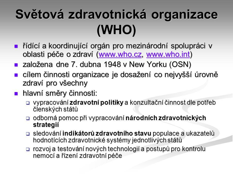 Světová zdravotnická organizace (WHO) řídící a koordinující orgán pro mezinárodní spolupráci v oblasti péče o zdraví (www.who.cz, www.who.int) řídící