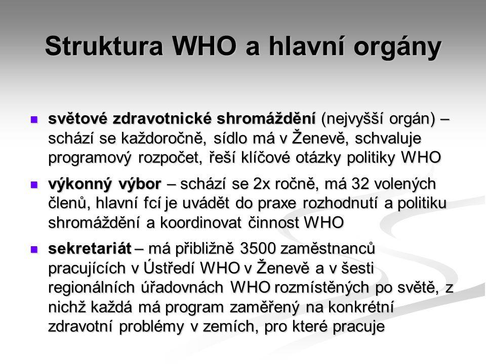Struktura WHO a hlavní orgány světové zdravotnické shromáždění (nejvyšší orgán) – schází se každoročně, sídlo má v Ženevě, schvaluje programový rozpoč