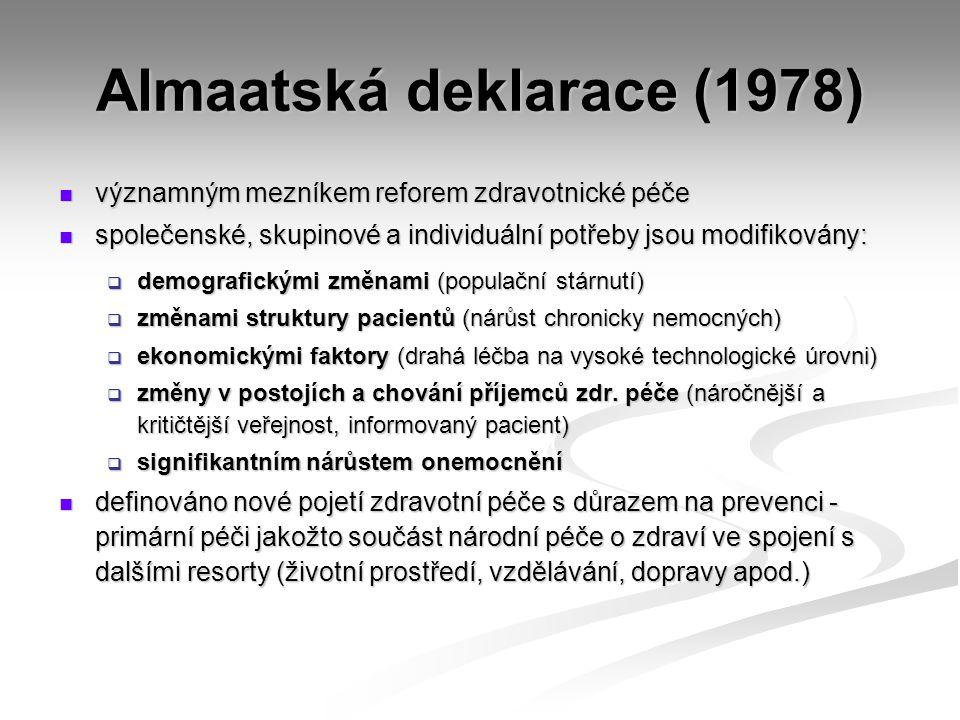 Almaatská deklarace (1978) významným mezníkem reforem zdravotnické péče významným mezníkem reforem zdravotnické péče společenské, skupinové a individu
