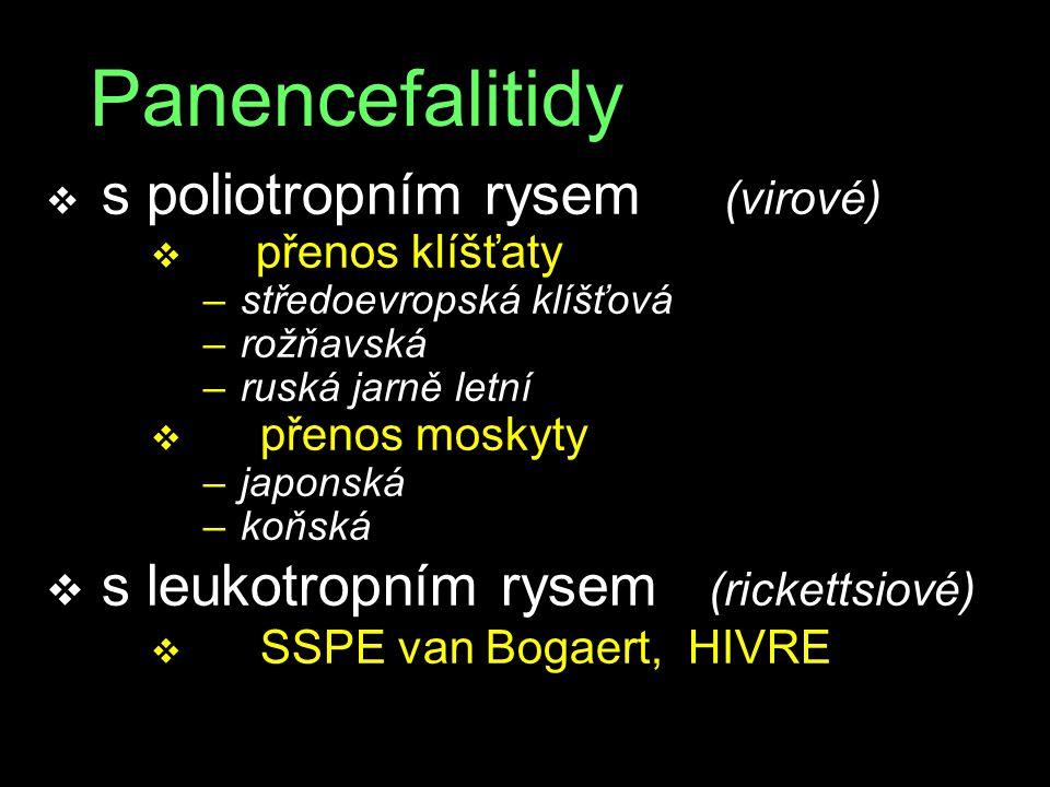 Panencefalitidy v s poliotropním rysem (virové) v přenos klíšťaty – středoevropská klíšťová – rožňavská – ruská jarně letní v přenos moskyty – japonsk