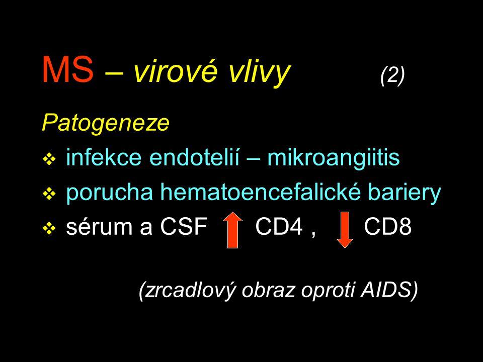 MS – virové vlivy (2) Patogeneze v infekce endotelií – mikroangiitis v porucha hematoencefalické bariery v sérum a CSF CD4, CD8 (zrcadlový obraz oprot