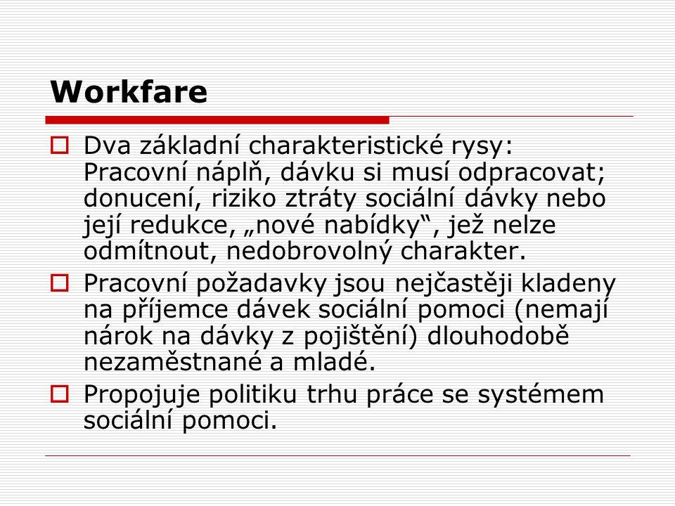 """Workfare  Dva základní charakteristické rysy: Pracovní náplň, dávku si musí odpracovat; donucení, riziko ztráty sociální dávky nebo její redukce, """"nové nabídky , jež nelze odmítnout, nedobrovolný charakter."""