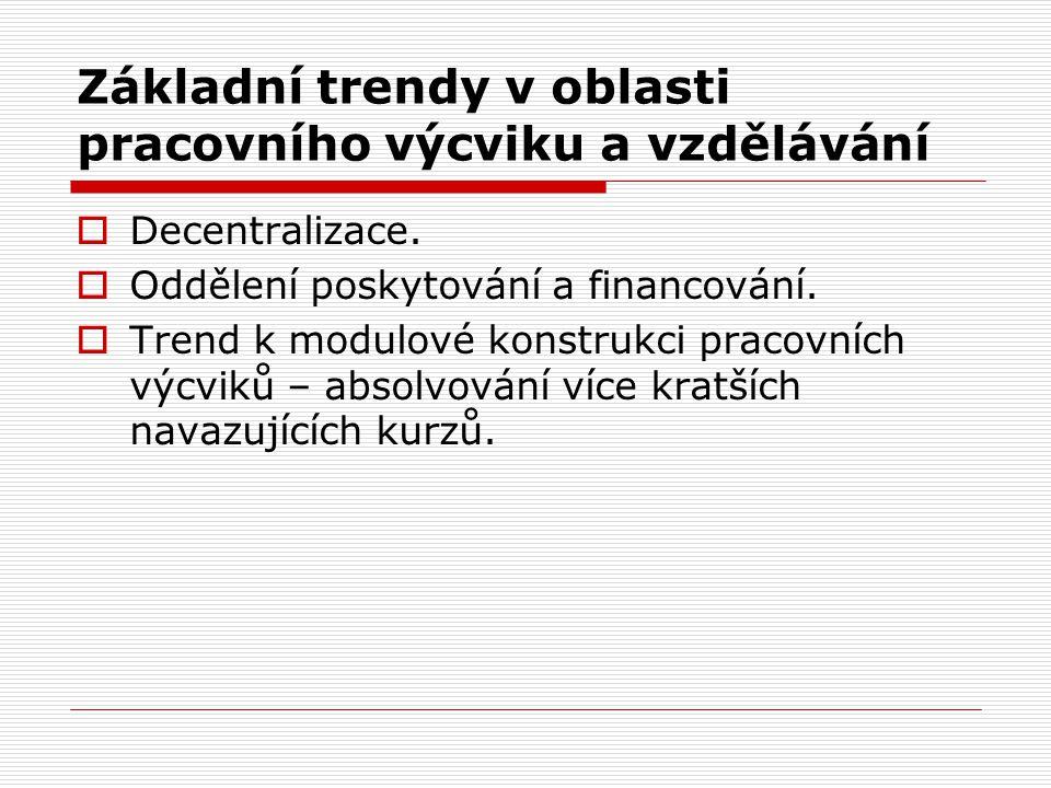 Základní trendy v oblasti pracovního výcviku a vzdělávání  Decentralizace.