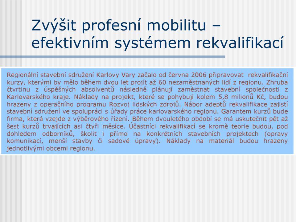 Zvýšit profesní mobilitu – efektivním systémem rekvalifikací