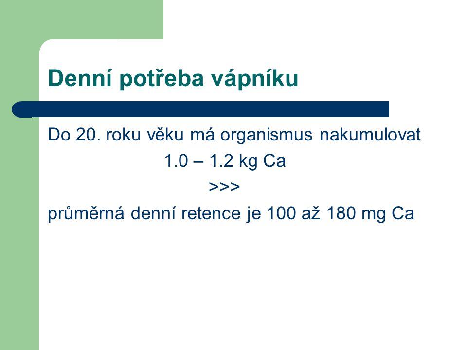 Denní potřeba vápníku Do 20. roku věku má organismus nakumulovat 1.0 – 1.2 kg Ca >>> průměrná denní retence je 100 až 180 mg Ca
