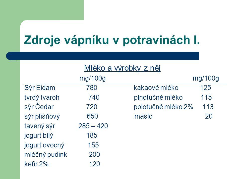 Zdroje vápníku v potravinách I. Mléko a výrobky z něj mg/100g mg/100g Sýr Eidam 780 kakaové mléko 125 tvrdý tvaroh 740 plnotučné mléko 115 sýr Čedar 7