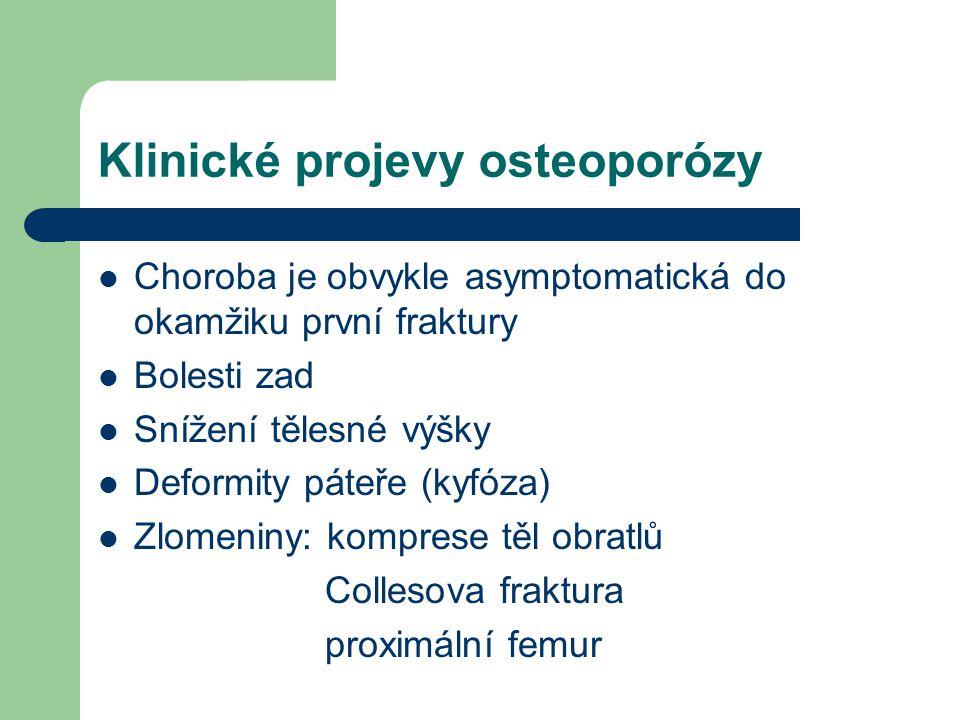 Klinické projevy osteoporózy Choroba je obvykle asymptomatická do okamžiku první fraktury Bolesti zad Snížení tělesné výšky Deformity páteře (kyfóza) Zlomeniny: komprese těl obratlů Collesova fraktura proximální femur