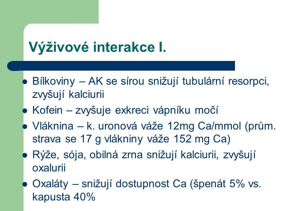 Výživové interakce I. Bílkoviny – AK se sírou snižují tubulární resorpci, zvyšují kalciurii Kofein – zvyšuje exkreci vápníku močí Vláknina – k. uronov