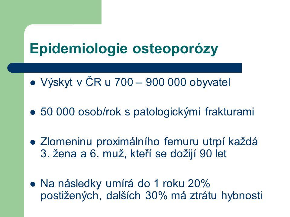 Epidemiologie osteoporózy Výskyt v ČR u 700 – 900 000 obyvatel 50 000 osob/rok s patologickými frakturami Zlomeninu proximálního femuru utrpí každá 3.