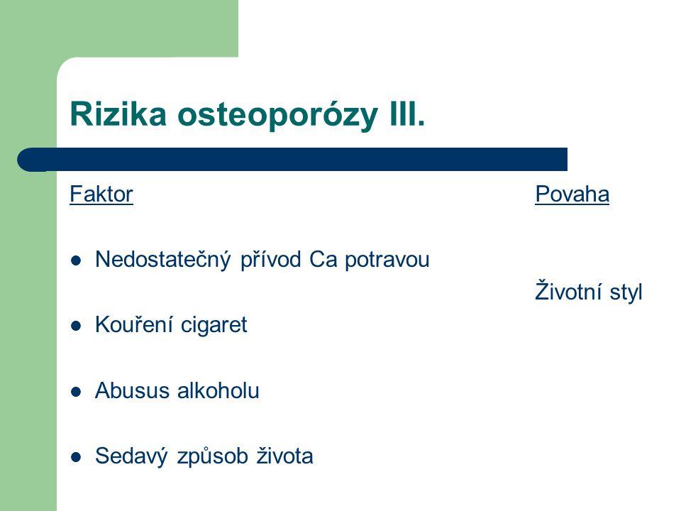 Rizika osteoporózy III. Faktor Nedostatečný přívod Ca potravou Kouření cigaret Abusus alkoholu Sedavý způsob života Povaha Životní styl
