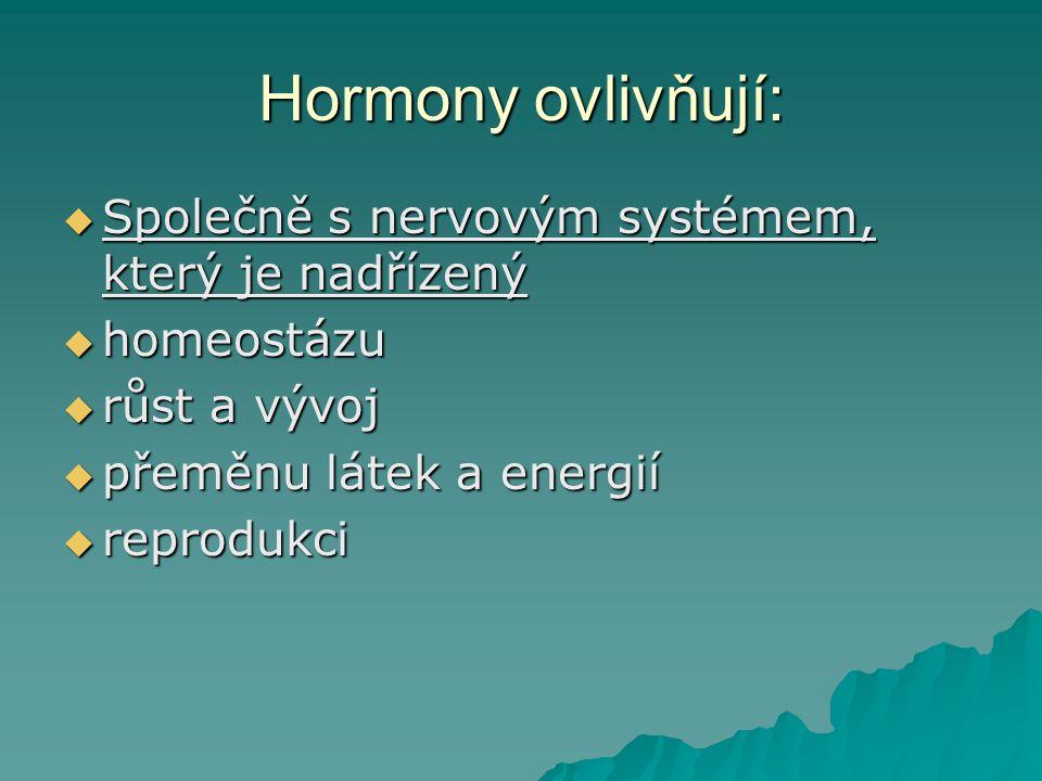 Hormony ovlivňují:  Společně s nervovým systémem, který je nadřízený  homeostázu  růst a vývoj  přeměnu látek a energií  reprodukci