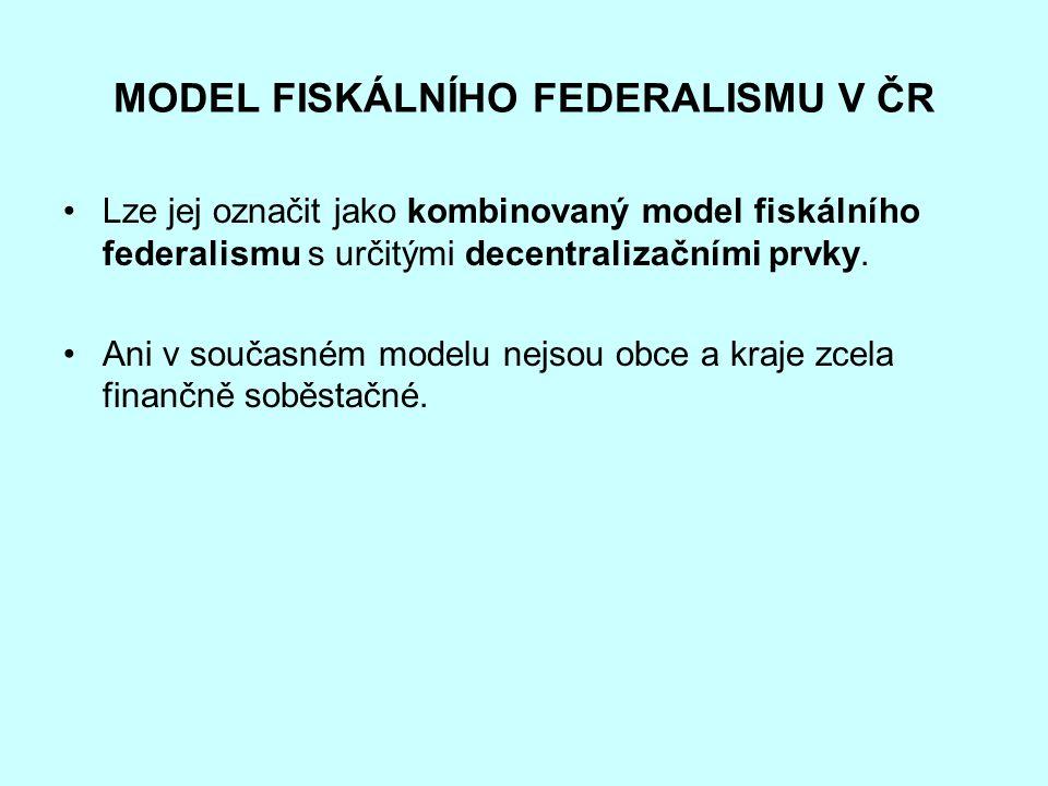 MODEL FISKÁLNÍHO FEDERALISMU V ČR Lze jej označit jako kombinovaný model fiskálního federalismu s určitými decentralizačními prvky. Ani v současném mo