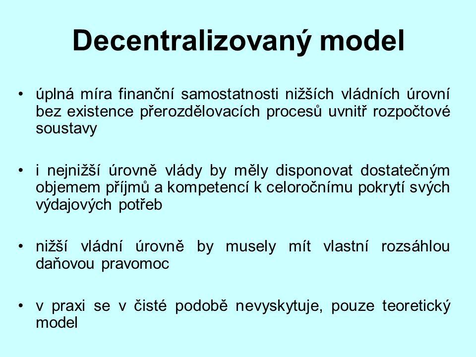 Decentralizovaný model úplná míra finanční samostatnosti nižších vládních úrovní bez existence přerozdělovacích procesů uvnitř rozpočtové soustavy i n