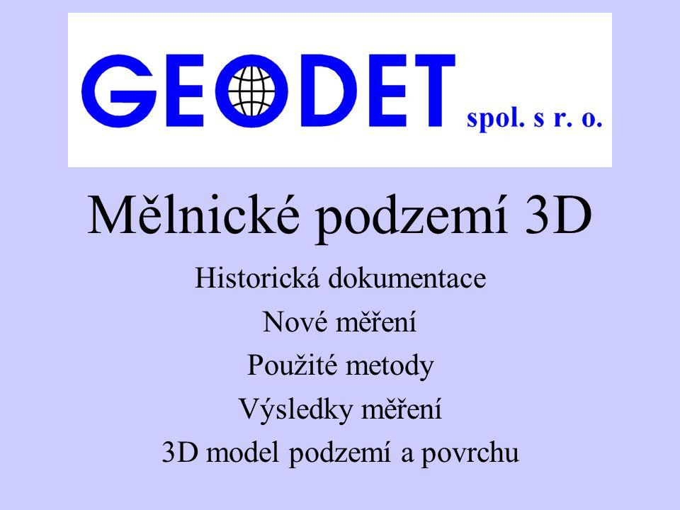 Mělnické podzemí 3D Historická dokumentace Nové měření Použité metody Výsledky měření 3D model podzemí a povrchu