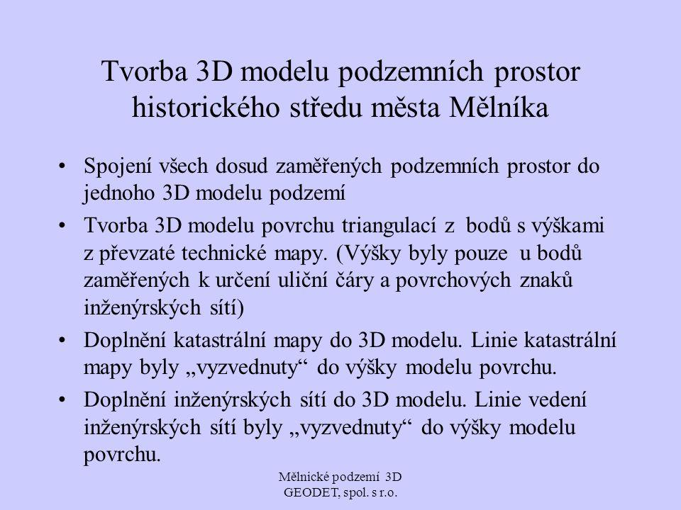 Mělnické podzemí 3D GEODET, spol. s r.o. Tvorba 3D modelu podzemních prostor historického středu města Mělníka Spojení všech dosud zaměřených podzemní