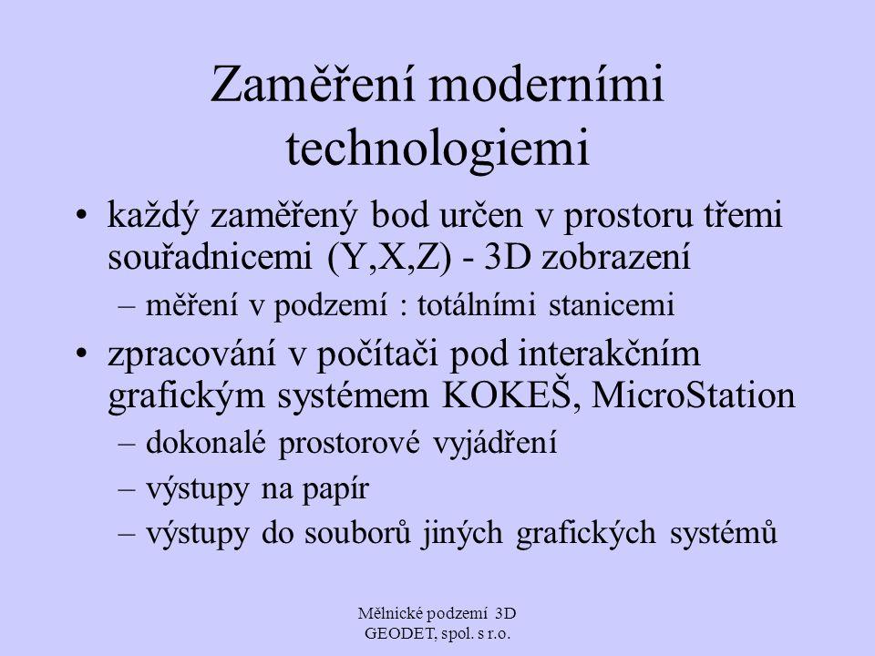 Mělnické podzemí 3D GEODET, spol. s r.o. Zaměření moderními technologiemi každý zaměřený bod určen v prostoru třemi souřadnicemi (Y,X,Z) - 3D zobrazen