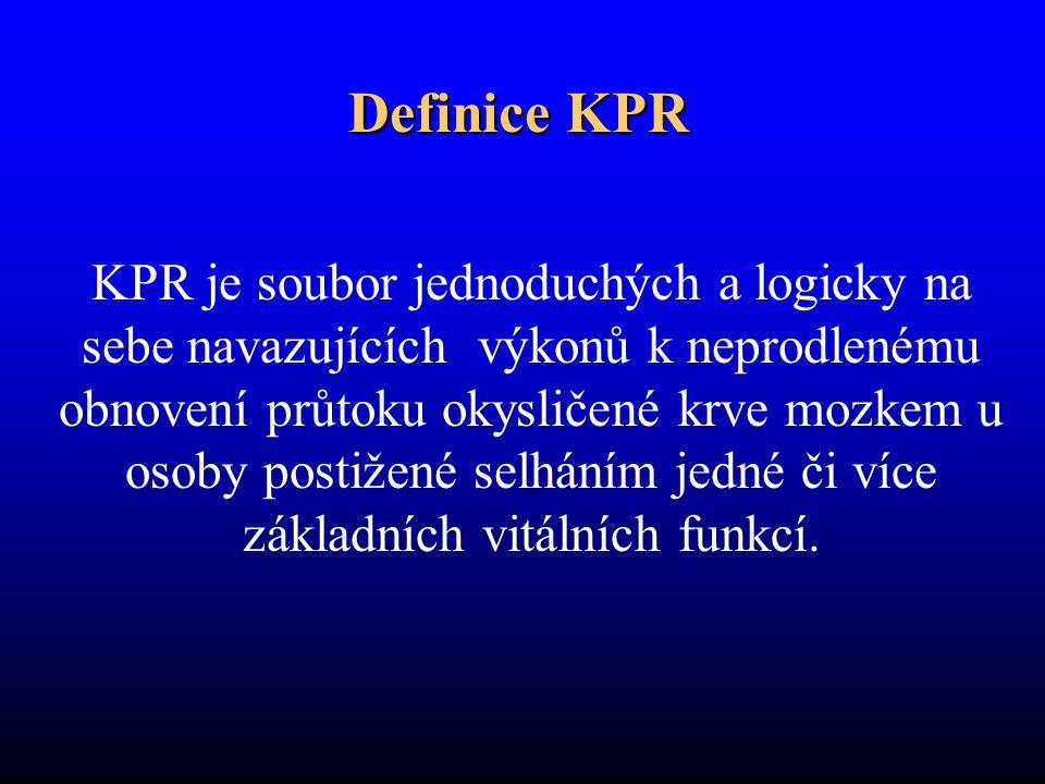 Definice KPR KPR je soubor jednoduchých a logicky na sebe navazujících výkonů k neprodlenému obnovení průtoku okysličené krve mozkem u osoby postižené selháním jedné či více základních vitálních funkcí.