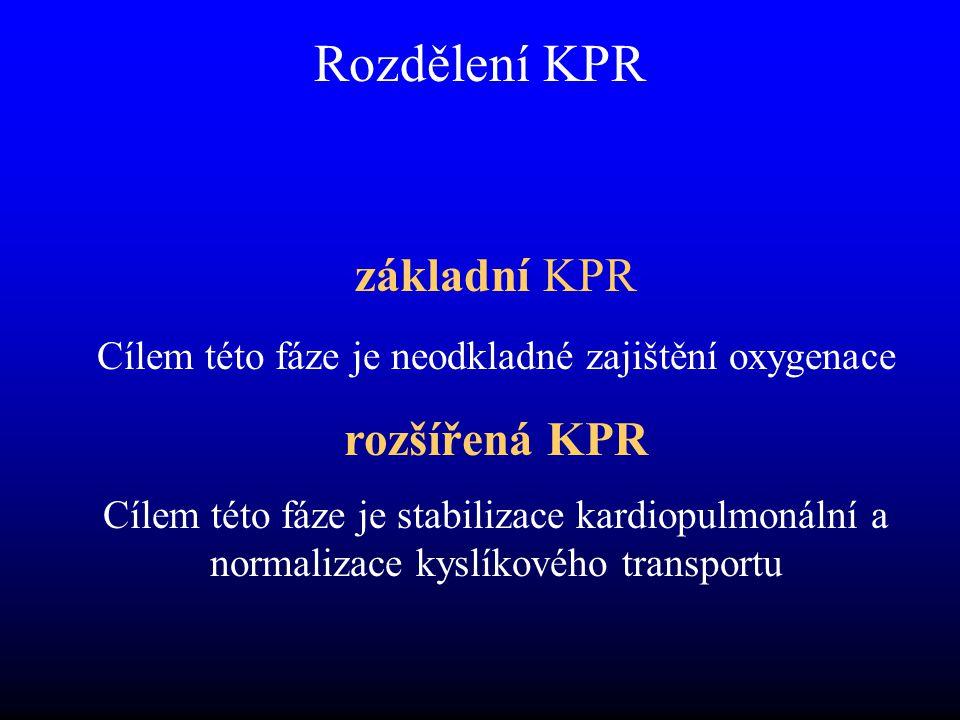 Rozdělení KPR základní KPR Cílem této fáze je neodkladné zajištění oxygenace rozšířená KPR Cílem této fáze je stabilizace kardiopulmonální a normalizace kyslíkového transportu