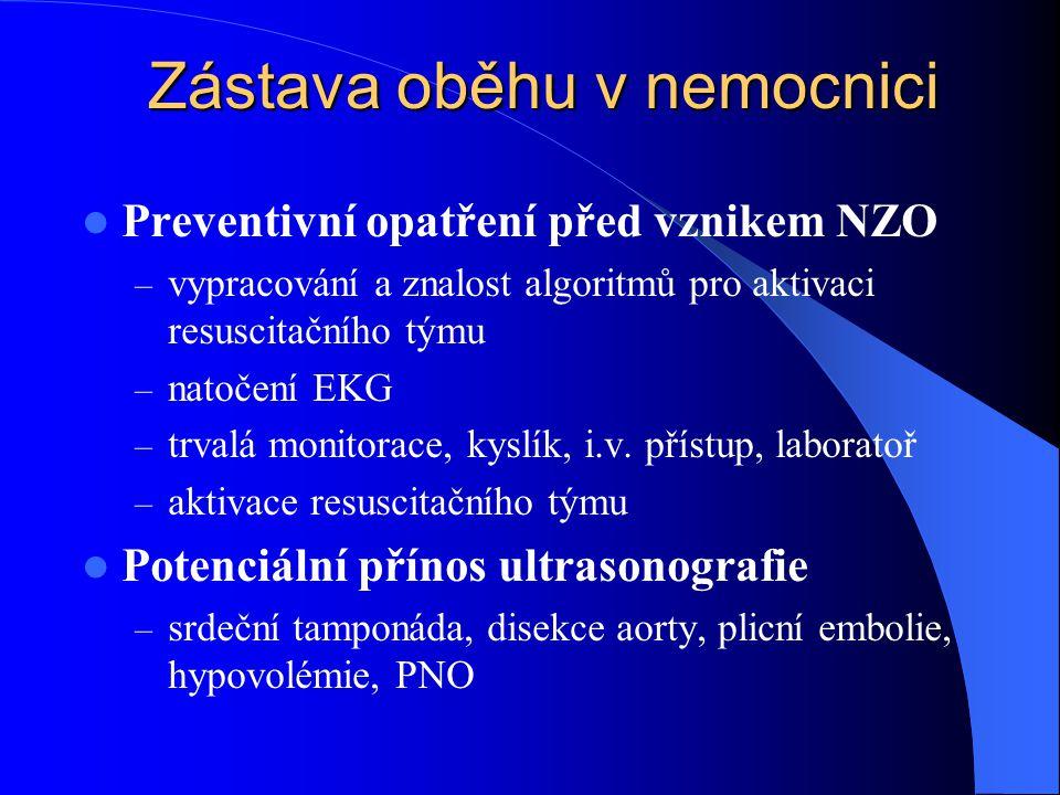 Zástava oběhu v nemocnici Preventivní opatření před vznikem NZO – vypracování a znalost algoritmů pro aktivaci resuscitačního týmu – natočení EKG – trvalá monitorace, kyslík, i.v.