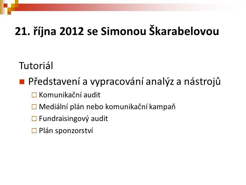 21. října 2012 se Simonou Škarabelovou Tutoriál Představení a vypracování analýz a nástrojů  Komunikační audit  Mediální plán nebo komunikační kampa