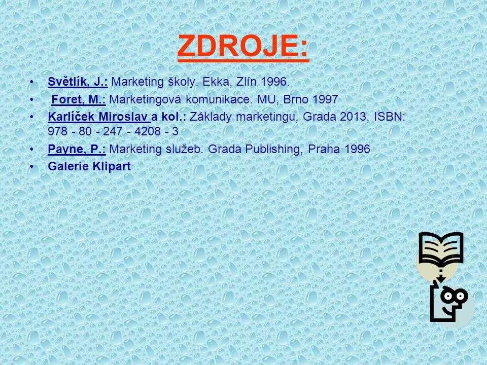 ZDROJE: Světlík, J.: Marketing školy. Ekka, Zlín 1996. Foret, M.: Marketingová komunikace. MU, Brno 1997 Karlíček Miroslav a kol.: Základy marketingu,