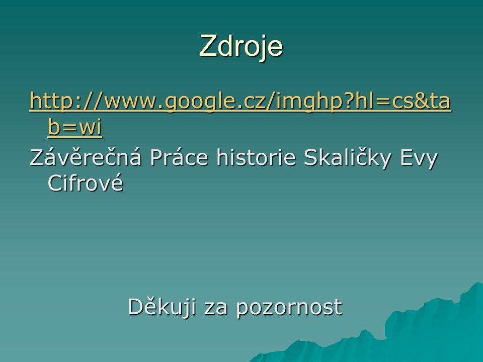 Zdroje http://www.google.cz/imghp?hl=cs&ta b=wi http://www.google.cz/imghp?hl=cs&ta b=wi Závěrečná Práce historie Skaličky Evy Cifrové Děkuji za pozor