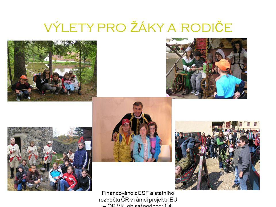 Financováno z ESF a státního rozpočtu ČR v rámci projektu EU – OP VK, oblast podpory 1.4. VÝLETY PRO Ž ÁKY A RODI Č E