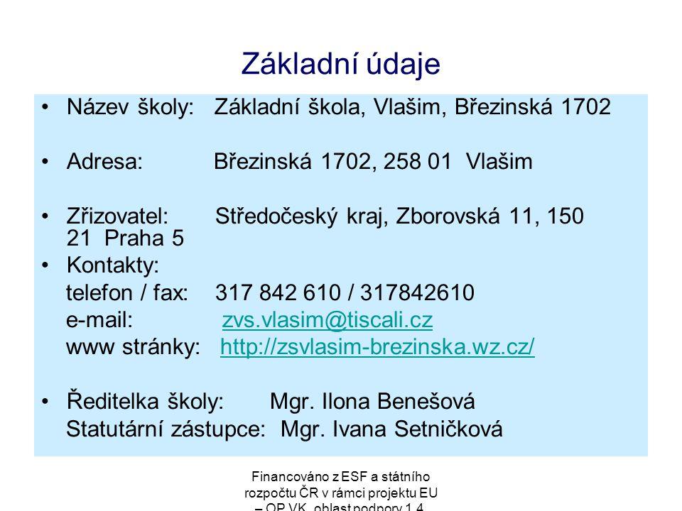 Financováno z ESF a státního rozpočtu ČR v rámci projektu EU – OP VK, oblast podpory 1.4. Základní údaje Název školy: Základní škola, Vlašim, Březinsk