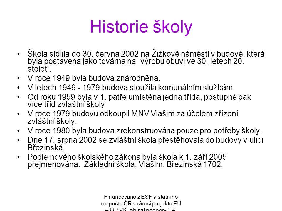 Financováno z ESF a státního rozpočtu ČR v rámci projektu EU – OP VK, oblast podpory 1.4. Historie školy Škola sídlila do 30. června 2002 na Žižkově n