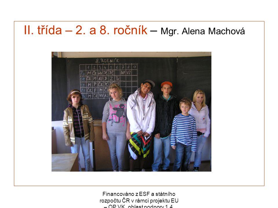 Financováno z ESF a státního rozpočtu ČR v rámci projektu EU – OP VK, oblast podpory 1.4. II. třída – 2. a 8. ročník – Mgr. Alena Machová
