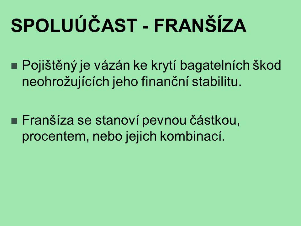 SPOLUÚČAST - FRANŠÍZA Pojištěný je vázán ke krytí bagatelních škod neohrožujících jeho finanční stabilitu.