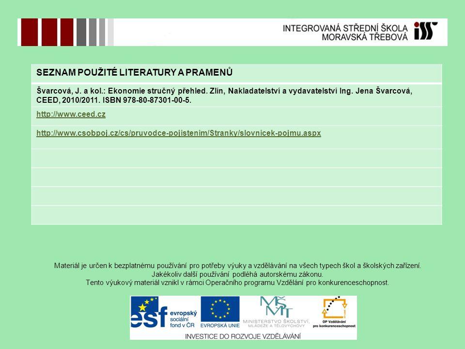 SEZNAM POUŽITÉ LITERATURY A PRAMENŮ Švarcová, J. a kol.: Ekonomie stručný přehled.