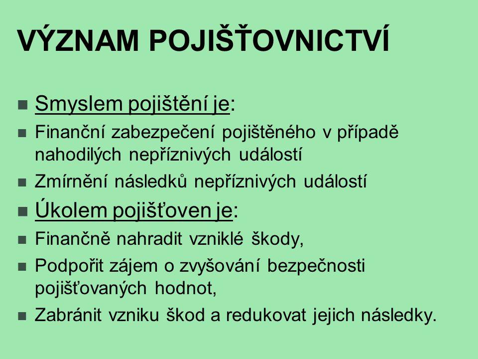 POJISTITEL  Pojišťovna  má oprávnění od MF ČR provozovat pojišťovací činnost,  vybírat pojistné a  povinnost vyplatit pojistné plnění v případě pojistné události.