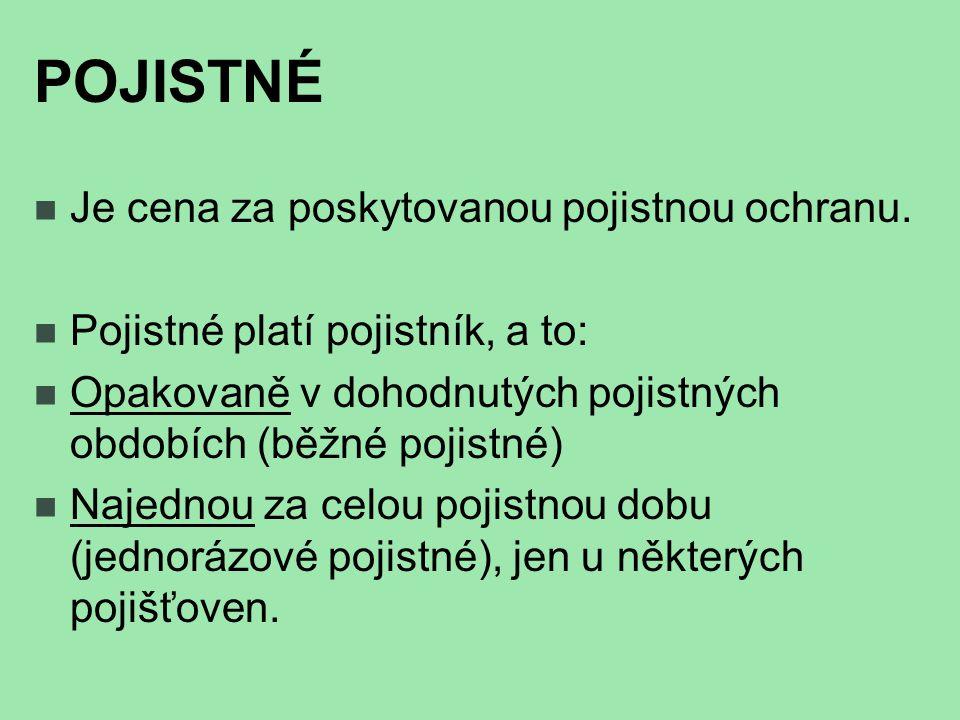 POJISTKA Písemné potvrzení pojišťovny o uzavření pojistné smlouvy.