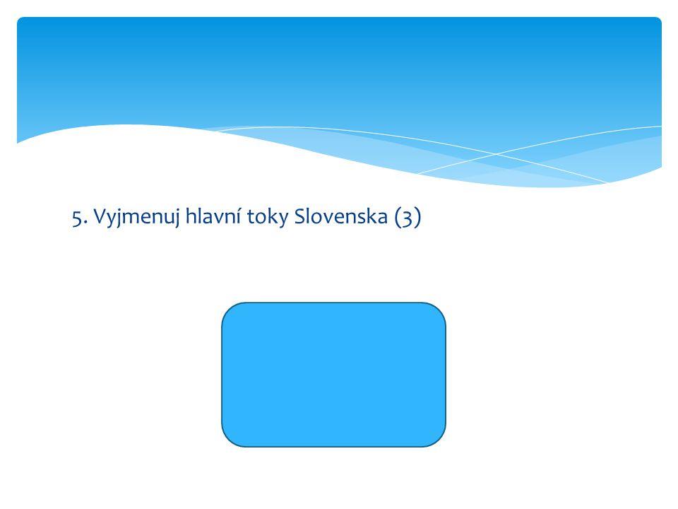 5. Vyjmenuj hlavní toky Slovenska (3) Dunaj Visla Váh
