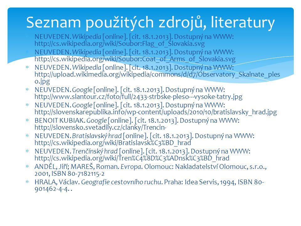  NEUVEDEN. Wikipedia [online]. [cit. 18.1.2013]. Dostupný na WWW: http://cs.wikipedia.org/wiki/Soubor:Flag_of_Slovakia.svg  NEUVEDEN. Wikipedia [onl