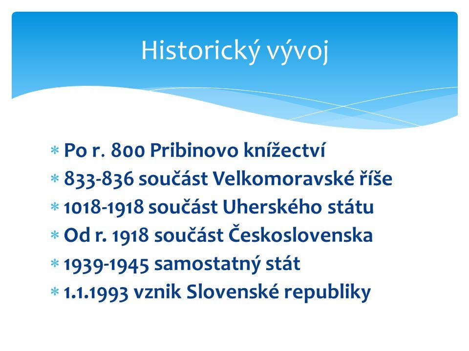 Historický vývoj  Po r. 800 Pribinovo knížectví  833-836 součást Velkomoravské říše  1018-1918 součást Uherského státu  Od r. 1918 součást Českosl
