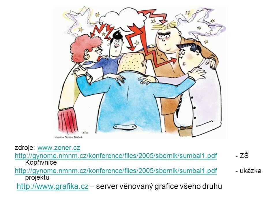 zdroje: www.zoner.czwww.zoner.cz http://gynome.nmnm.cz/konference/files/2005/sbornik/sumbal1.pdfhttp://gynome.nmnm.cz/konference/files/2005/sbornik/sumbal1.pdf - ZŠ Kopřivnice http://gynome.nmnm.cz/konference/files/2005/sbornik/sumbal1.pdfhttp://gynome.nmnm.cz/konference/files/2005/sbornik/sumbal1.pdf - ukázka projektu http://www.grafika.cz – server věnovaný grafice všeho druhu http://www.grafika.cz