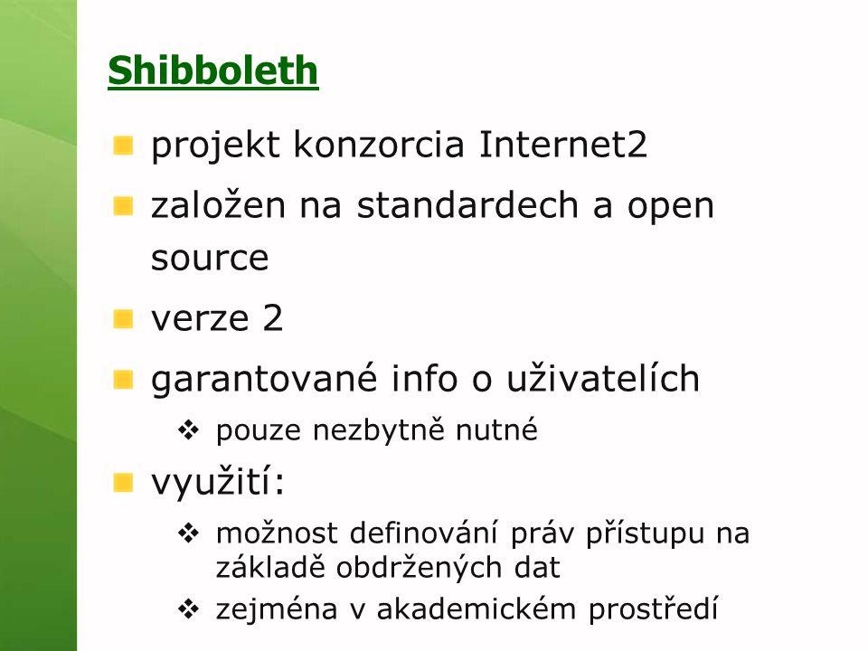 Shibboleth projekt konzorcia Internet2 založen na standardech a open source verze 2 garantované info o uživatelích  pouze nezbytně nutné využití:  možnost definování práv přístupu na základě obdržených dat  zejména v akademickém prostředí