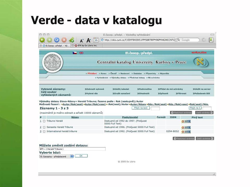 Verde - data v katalogu