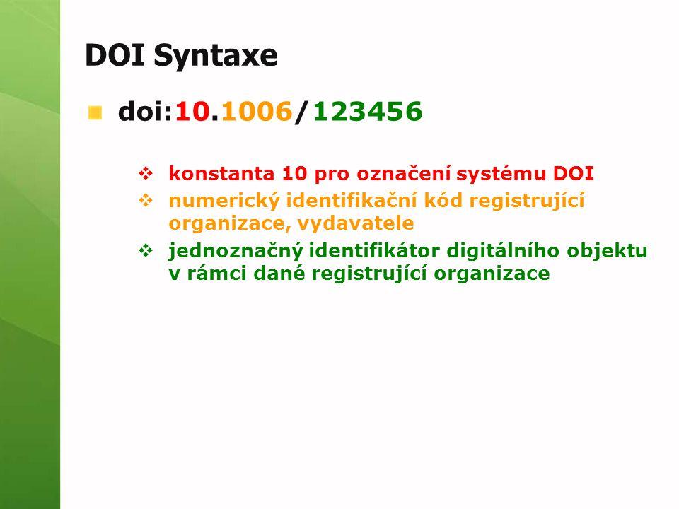 DOI Syntaxe doi:10.1006/123456  konstanta 10 pro označení systému DOI  numerický identifikační kód registrující organizace, vydavatele  jednoznačný identifikátor digitálního objektu v rámci dané registrující organizace
