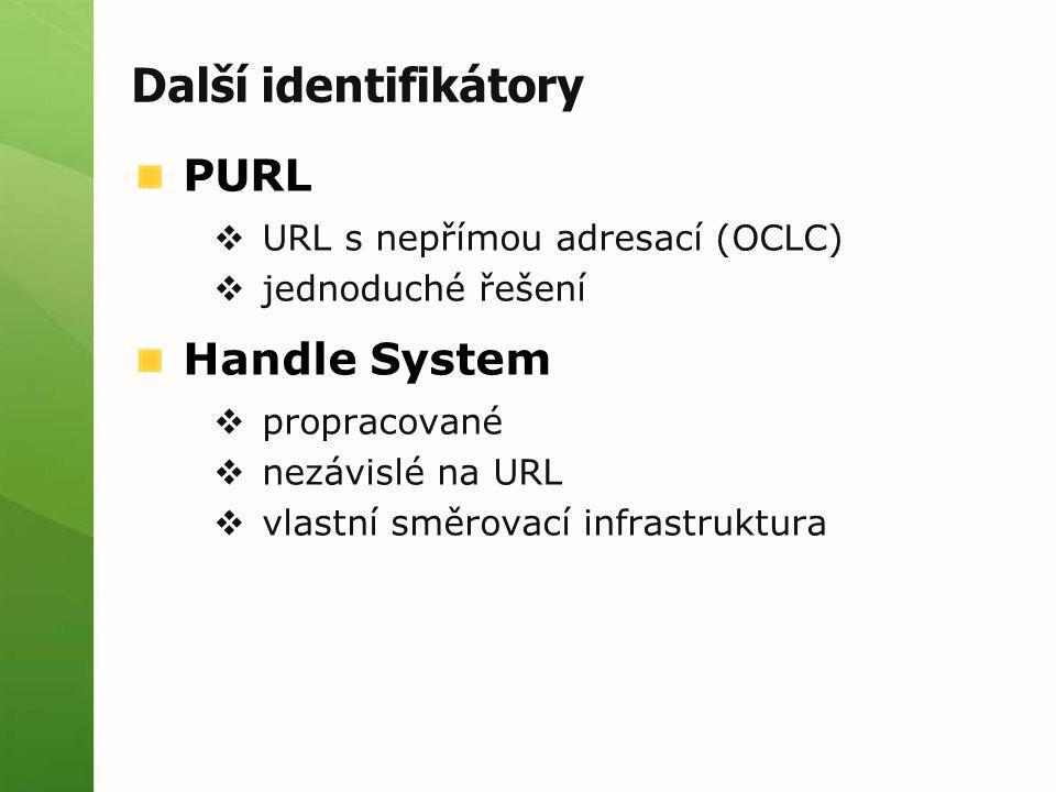 Další identifikátory PURL  URL s nepřímou adresací (OCLC)  jednoduché řešení Handle System  propracované  nezávislé na URL  vlastní směrovací inf